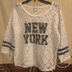 Express New York 3/4 length sleeve lace tee shirt